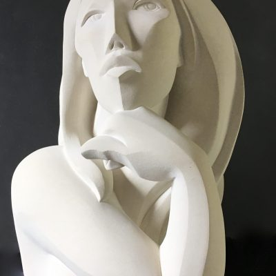 Penelope, carved in French limestone